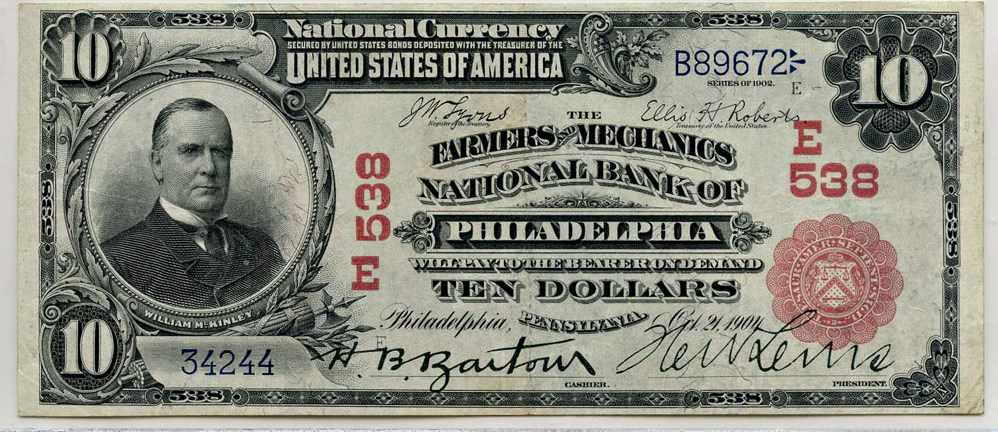 sample image for 1902 3rd Charter Period $10  Red Seal 1st Issue (Fr.# 613)