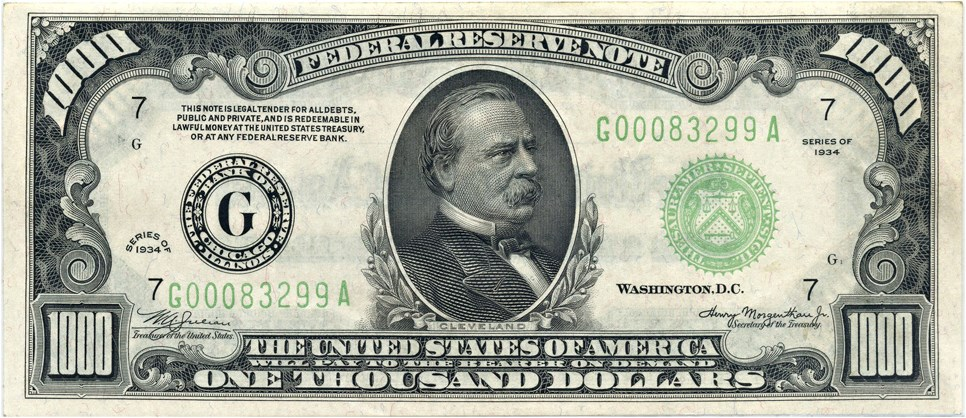 sample image for Fr.2211A $1,000 1934 Boston