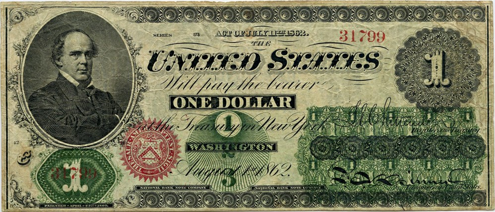 sample image for 1862 $1  No Monogram Seal Type 2 (Fr.# 16)
