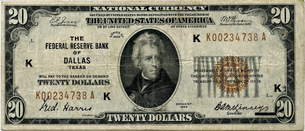 sample image for 1929 $20  Dallas (Fr.# 1870K)