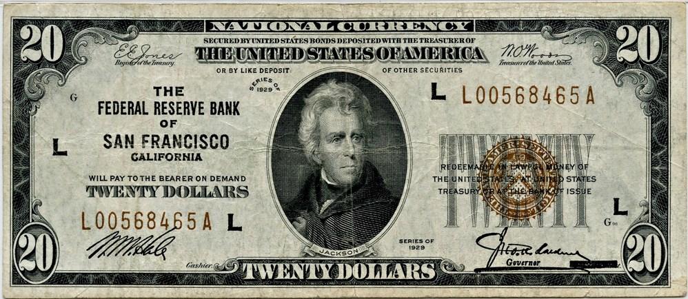 sample image for 1929 $20  San Francisco (Fr.# 1870L)