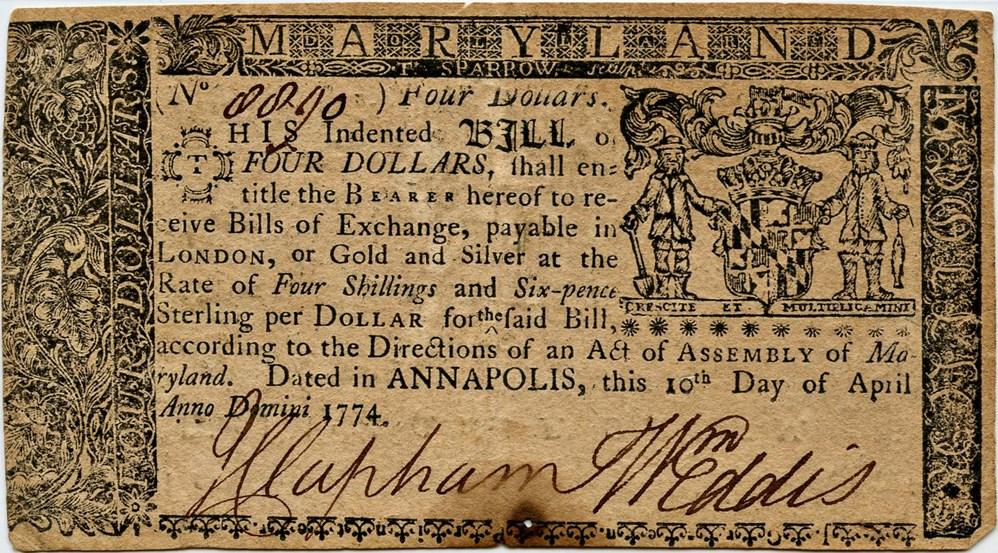sample image for 1774 10-Apr $4  (Fr.# MD68)