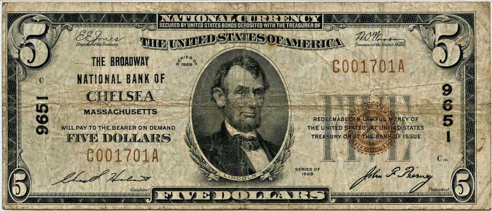 sample image for 1929 Type 1 $5  (Fr.# 1800-1)