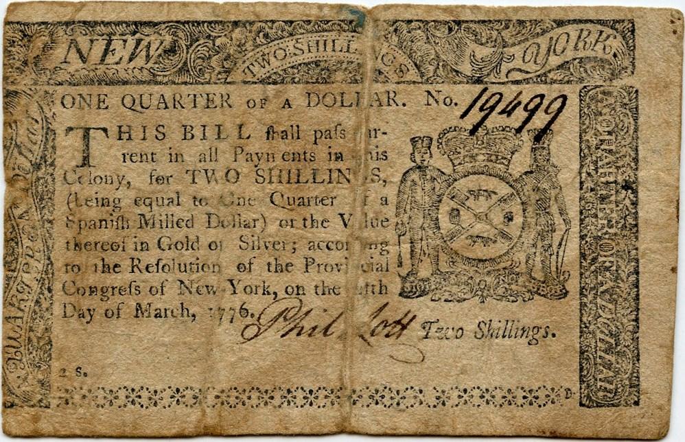 sample image for 1776 5-Mar $1/4 (Fr.# NY187)