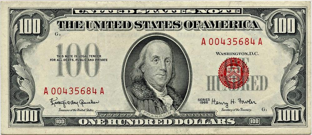 sample image for 1966 $100  (Fr.# 1550)