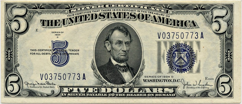 sample image for 1934D $5  (Fr.# 1654)