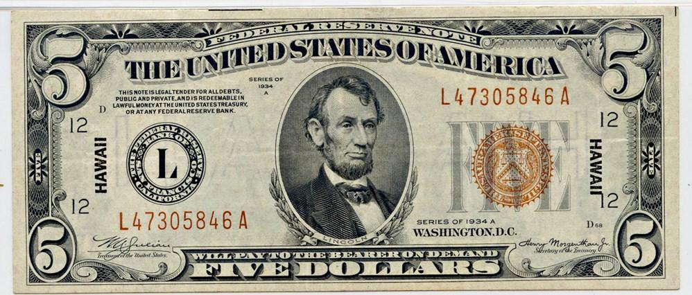 sample image for 1934A Hawaiian $5  (Fr.# 2302)
