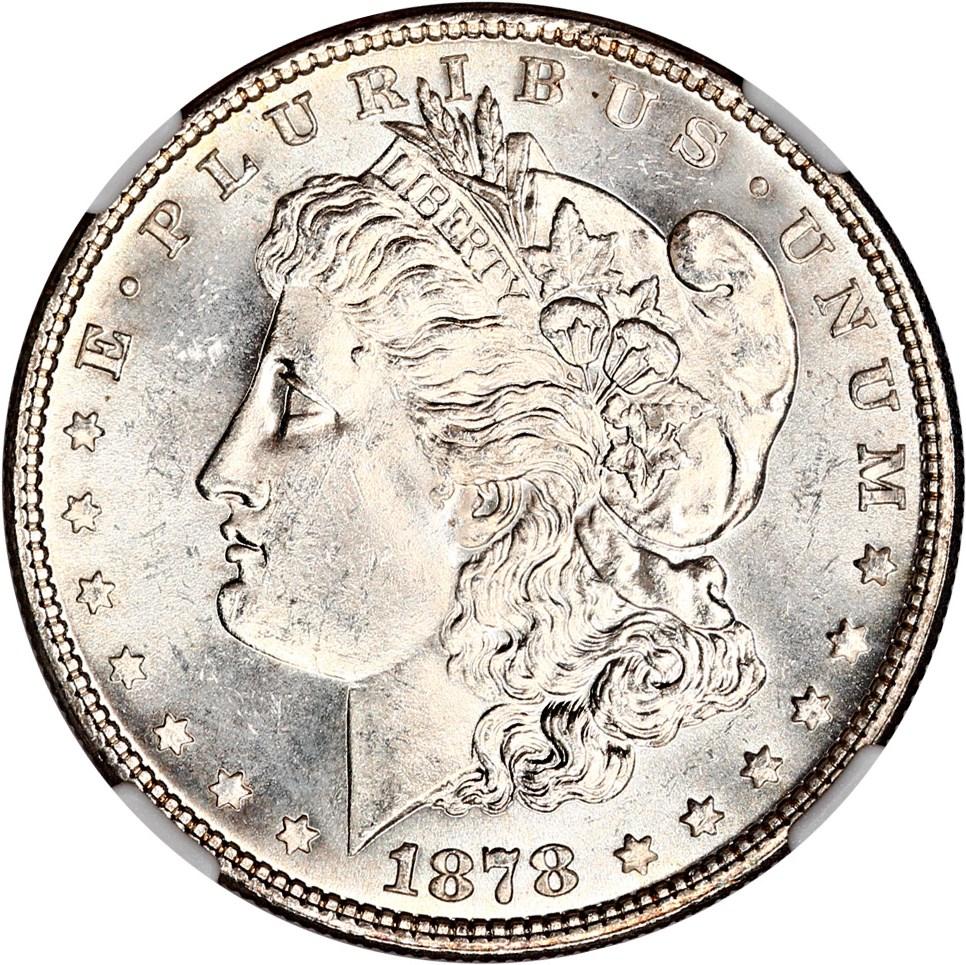 sample image for 1878 7TF Reverse of 1878 $1  MS VAM-100, Type 1 Obv