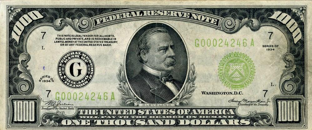 sample image for Fr.2211G $1,000 1934 Chicago