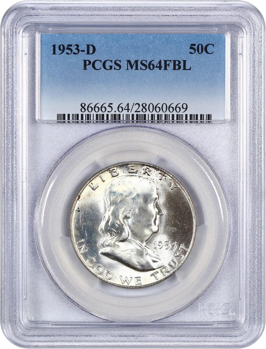 1953-D Franklin Half Dollar PCGS MS-64 FBL 173175