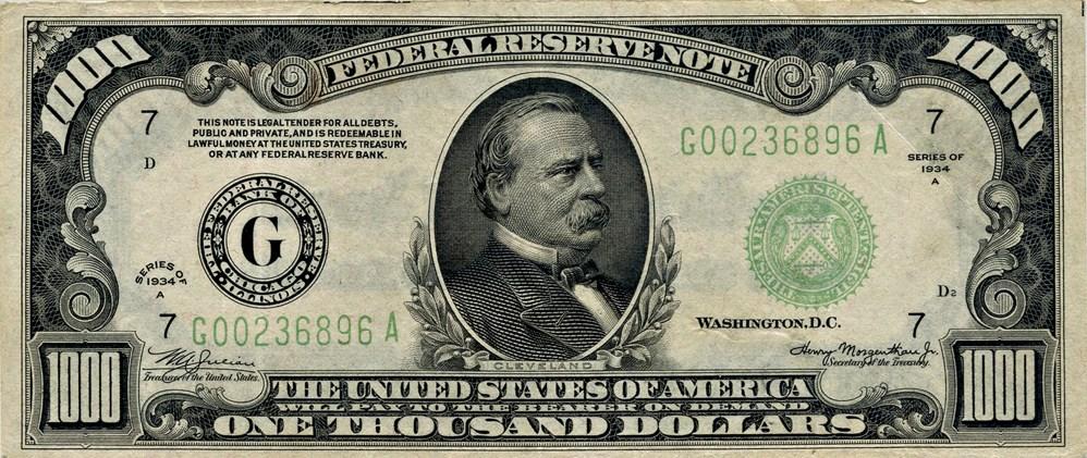 sample image for Fr.2212G $1,000 1934A Chicago