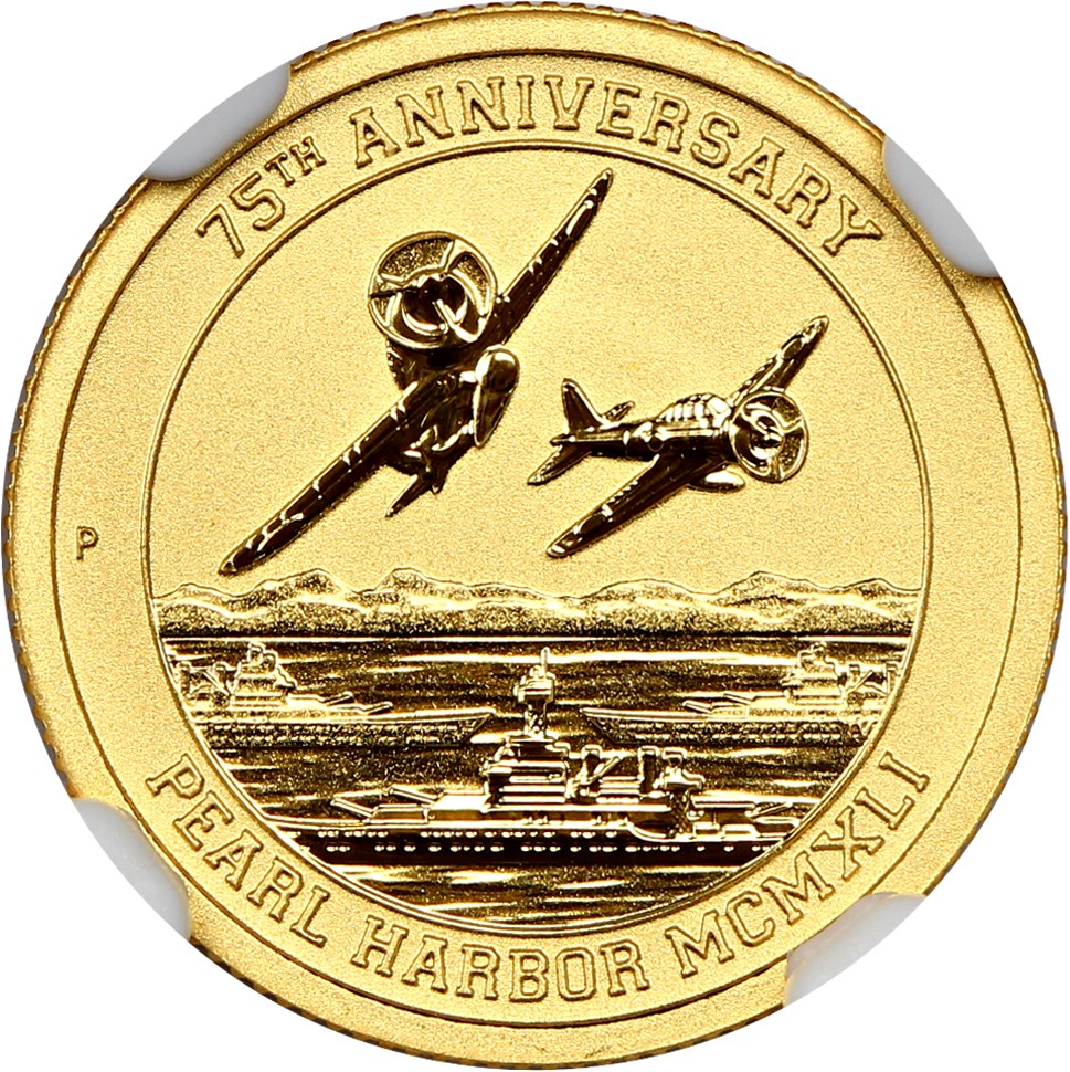 Tuvalu 2016 Pearl Harbor 75th Anniversary $15 Gold NGC MS70