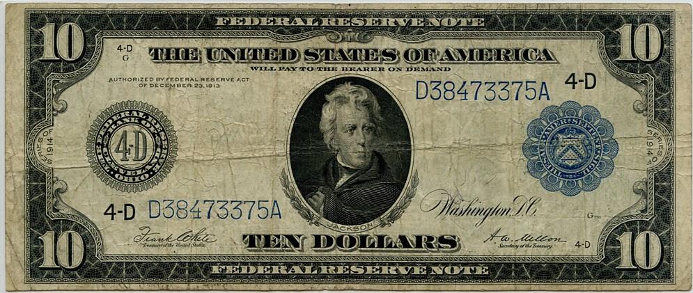 sample image for Fr.919A $10 Cleveland