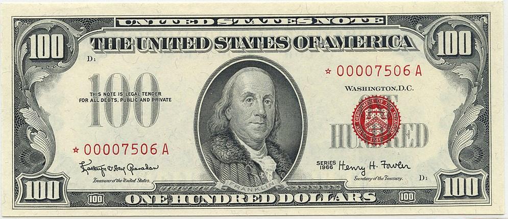 sample image for 1966 $100  (Fr.# 1550*)