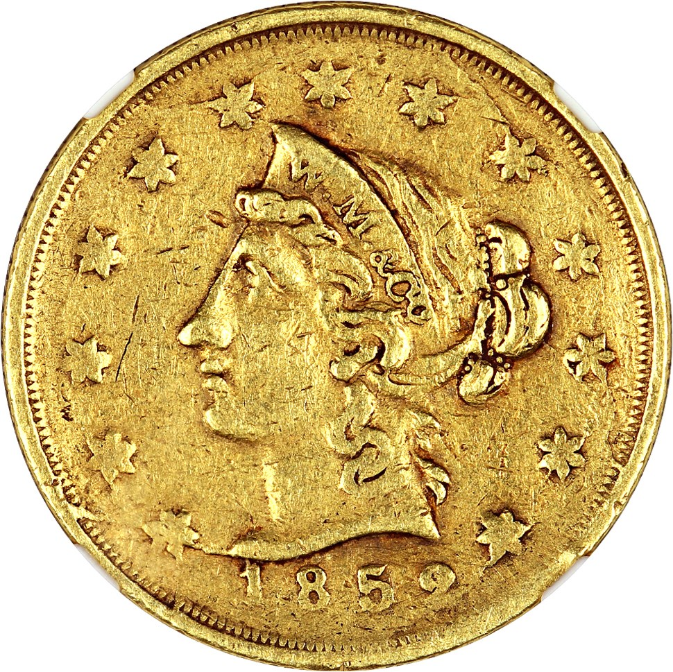 sample image for 1852 $10 Wass Mol Co, Large Head