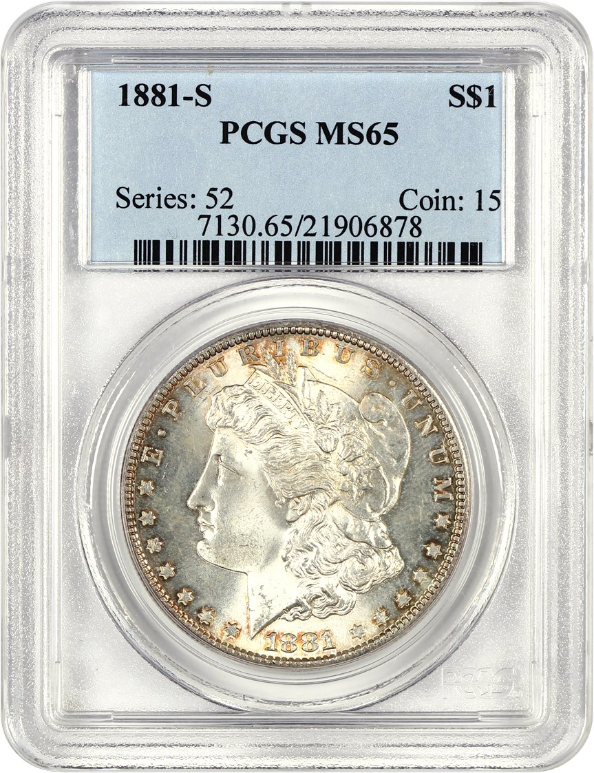 1881-S US Morgan Silver Dollar $1 PCGS MS65