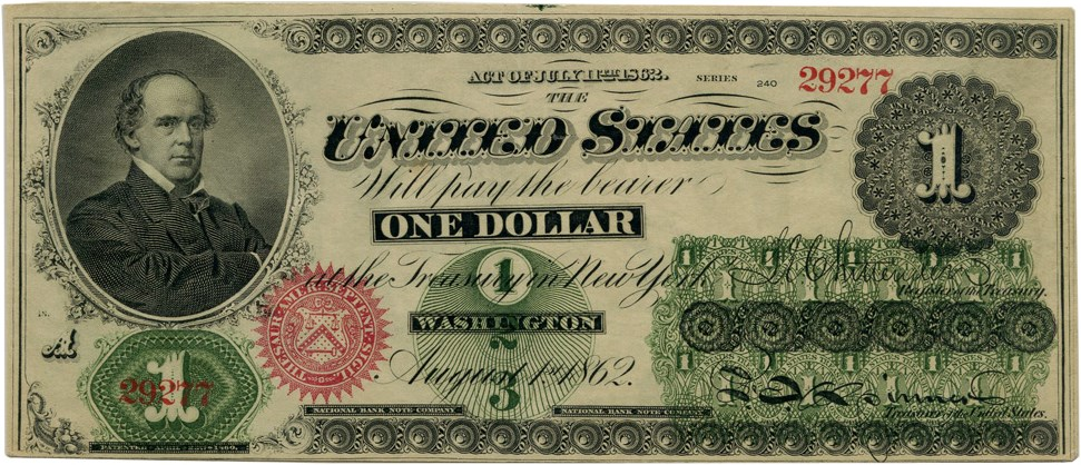 sample image for 1862 $1  With Monogram Seal Type 2 (Fr.# 16a)
