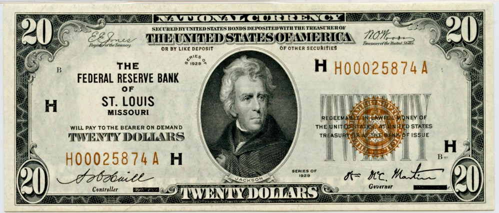 sample image for 1929 $20  St. Louis (Fr.# 1870H)