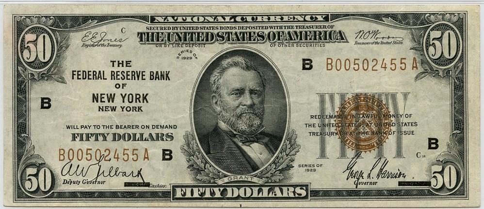 sample image for 1929 $50  New York (Fr.# 1880B)