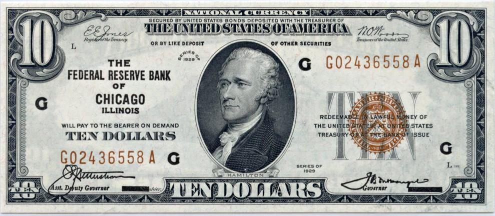 sample image for 1929 $10  Chicago (Fr.# 1860G)