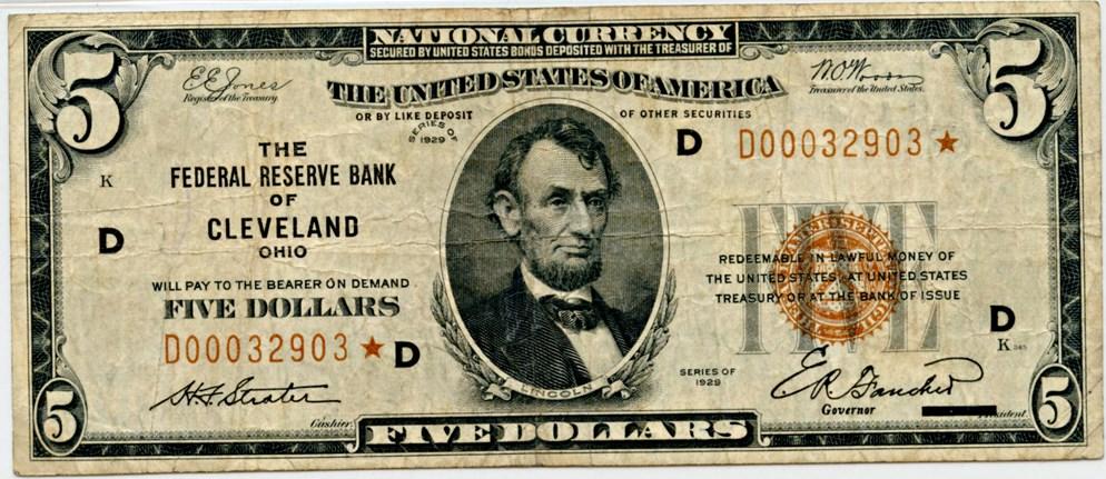 sample image for 1929 $5  Cleveland (Fr.# 1850D)