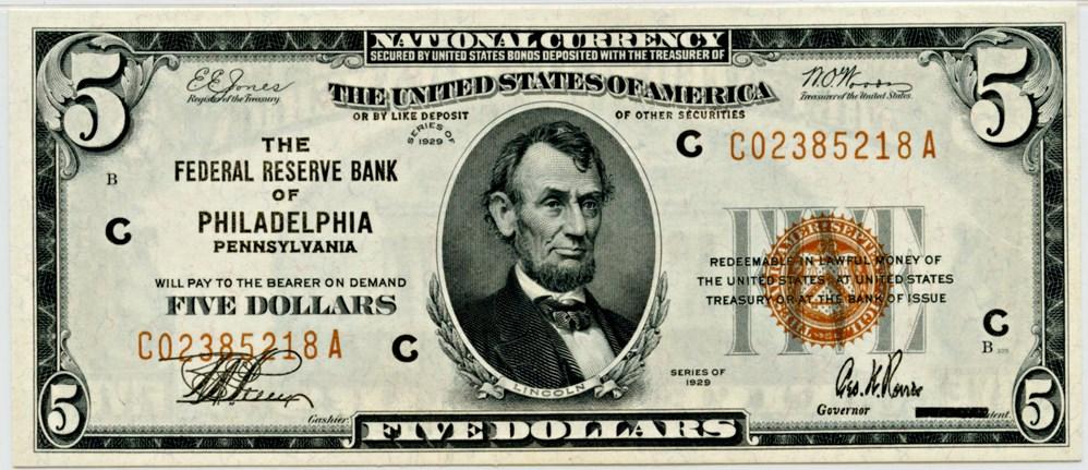sample image for 1929 $5  Philadelphia (Fr.# 1850C)