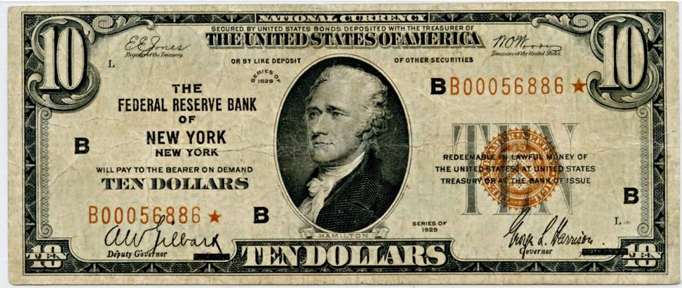 sample image for 1929 $10  New York (Fr.# 1860B)