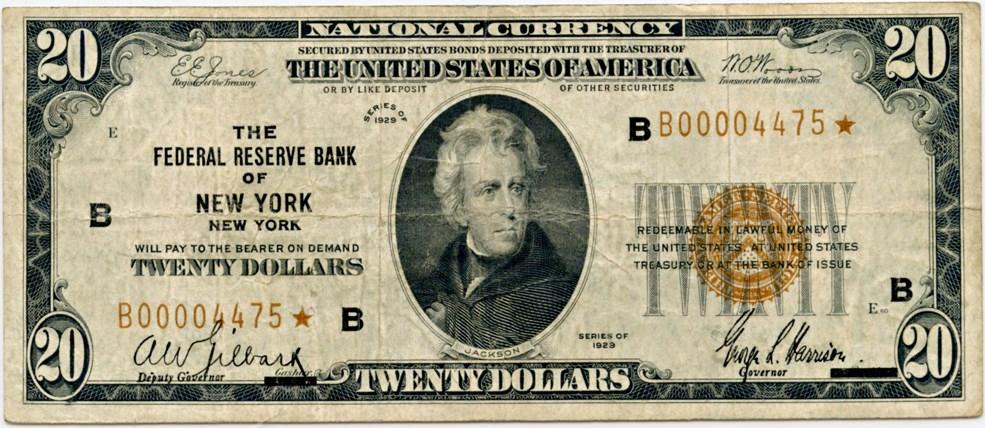 sample image for 1929 $20  New York (Fr.# 1870B)