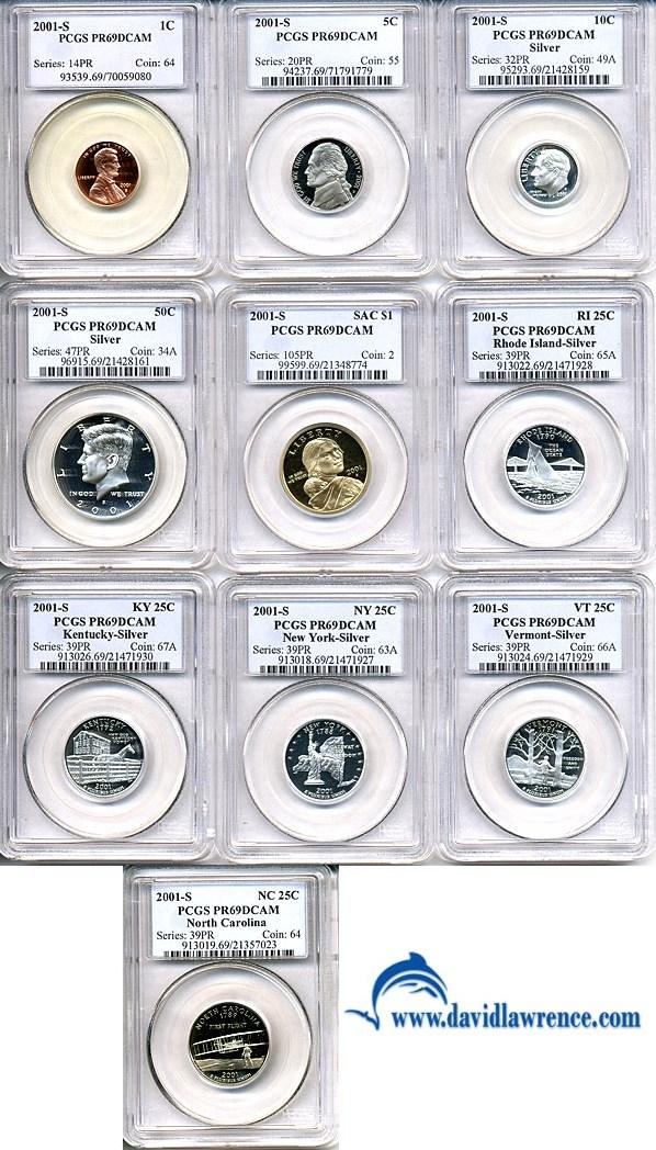 sample image for 2001-S Proof Set 1c-$1 PR DCAM 10 Coins