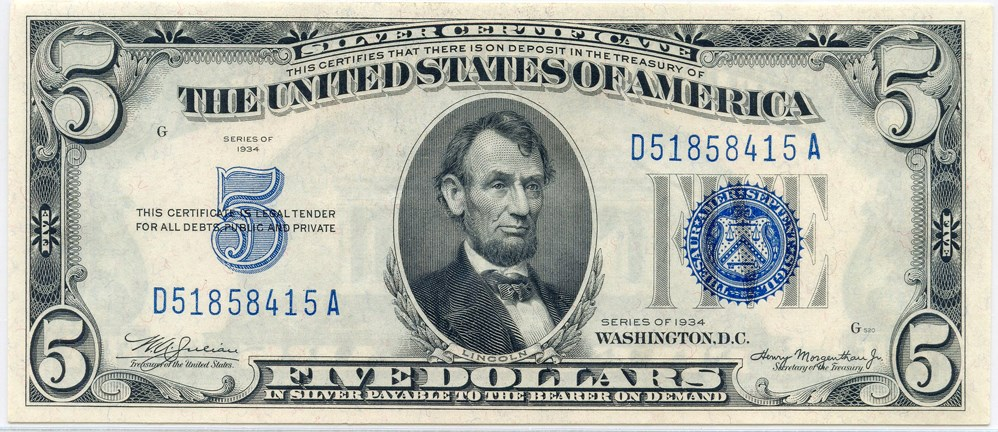 sample image for 1934 $5  (Fr.# 1650)