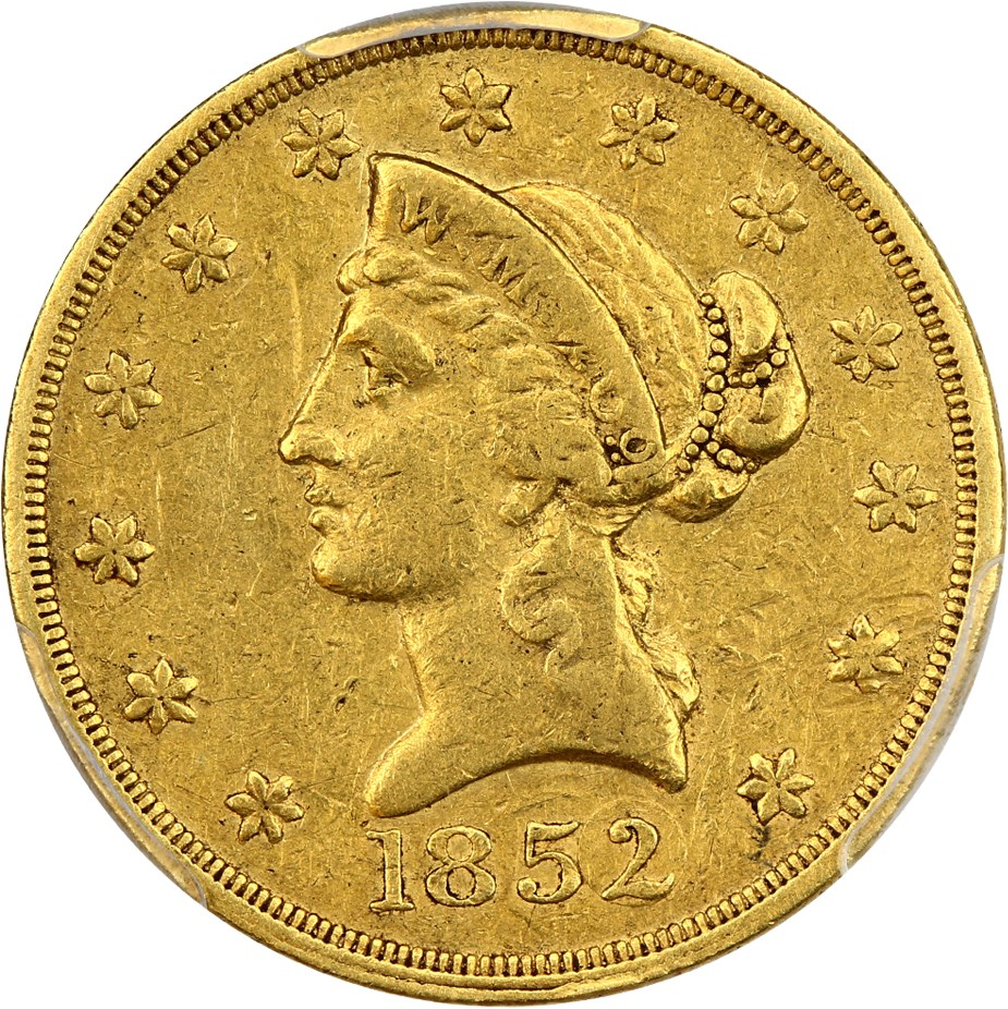 sample image for 1852 $10 Wass Mol Co, Small Head
