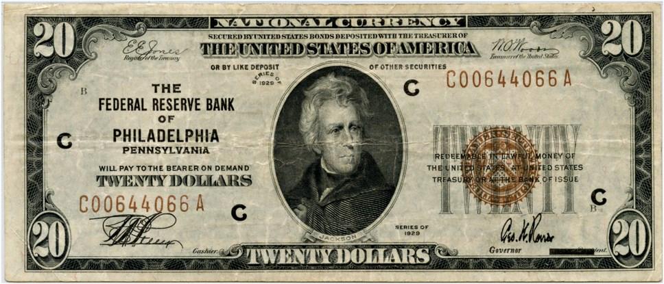 sample image for 1929 $20  Philadelphia (Fr.# 1870C)