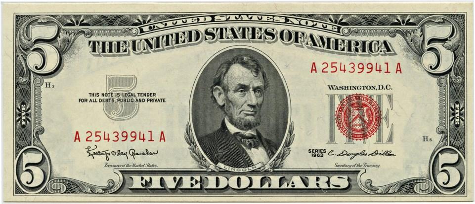 sample image for 1963 $5  (Fr.# 1536)