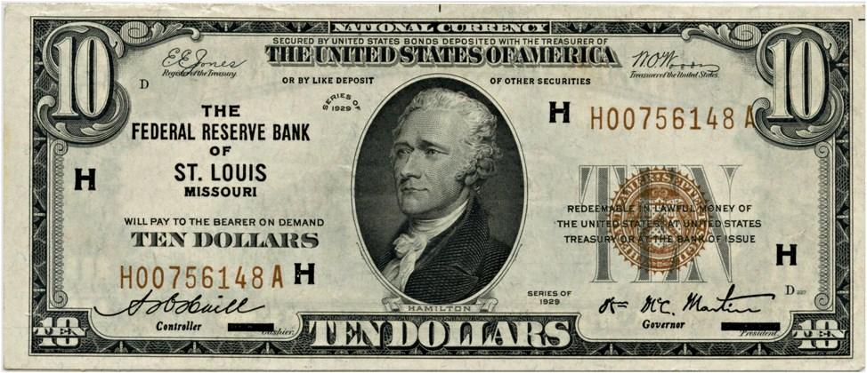 sample image for 1929 $10  St. Louis (Fr.# 1860H)