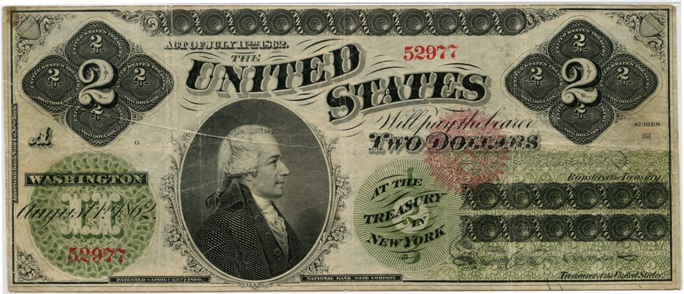 sample image for 1862 $2  Seal Type 2 (Fr.# 41a)