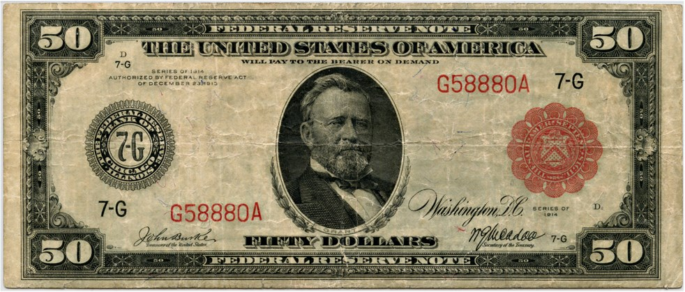 sample image for Fr.1018A $50 Chicago RS