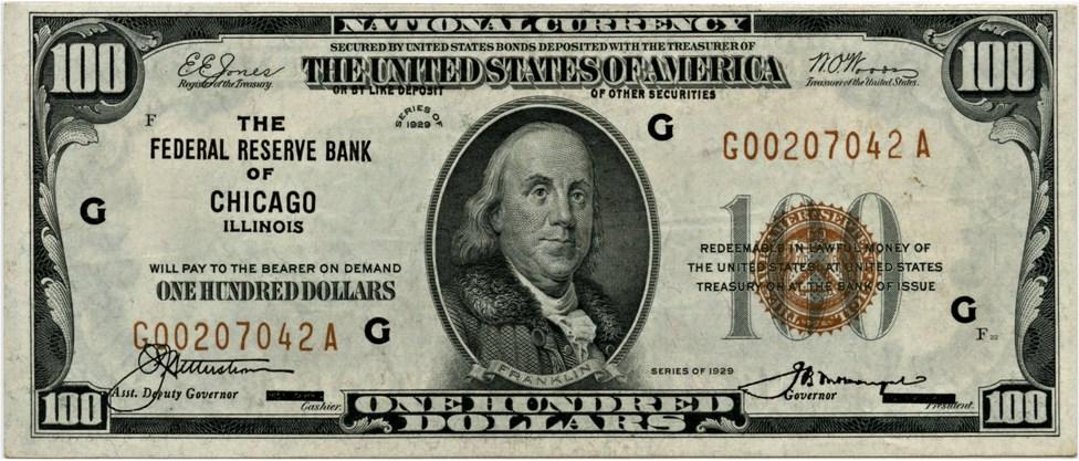 sample image for 1929 $100  Chicago (Fr.# 1890G)