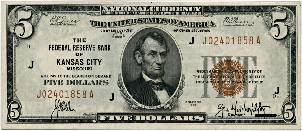 sample image for 1929 $5  Kansas City (Fr.# 1850J)