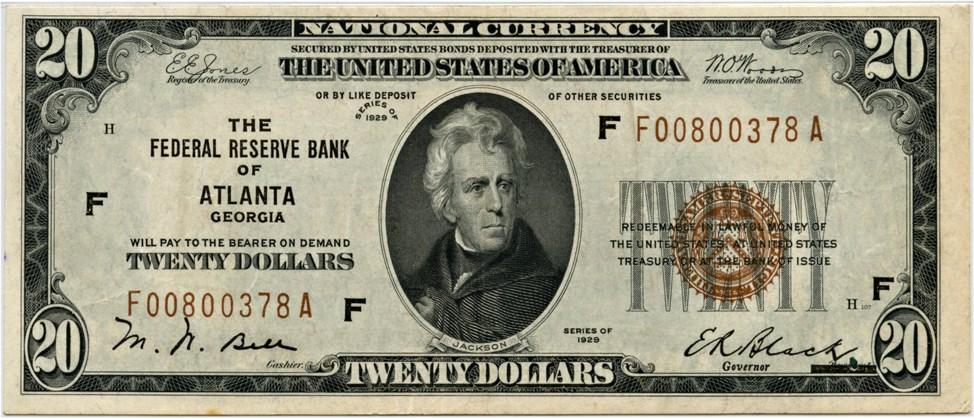 sample image for 1929 $20  Atlanta (Fr.# 1870F)