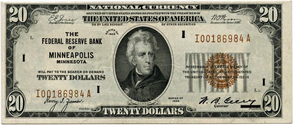 sample image for 1929 $20  Minneapolis (Fr.# 1870I)