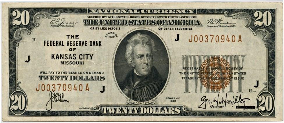 sample image for 1929 $20  Kansas City (Fr.# 1870J)