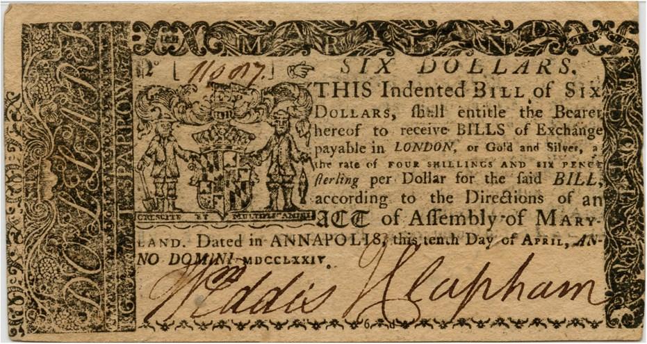 sample image for 1774 10-Apr $6  (Fr.# MD69)