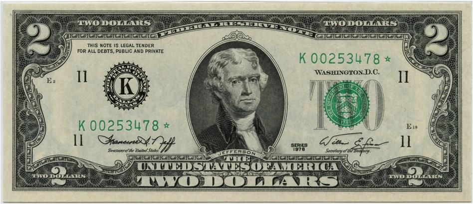 sample image for 1976 $2  Dallas (Fr.# 1935K*)