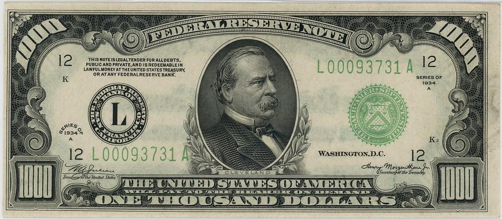 sample image for Fr.2212L $1,000 1934A San Francisco