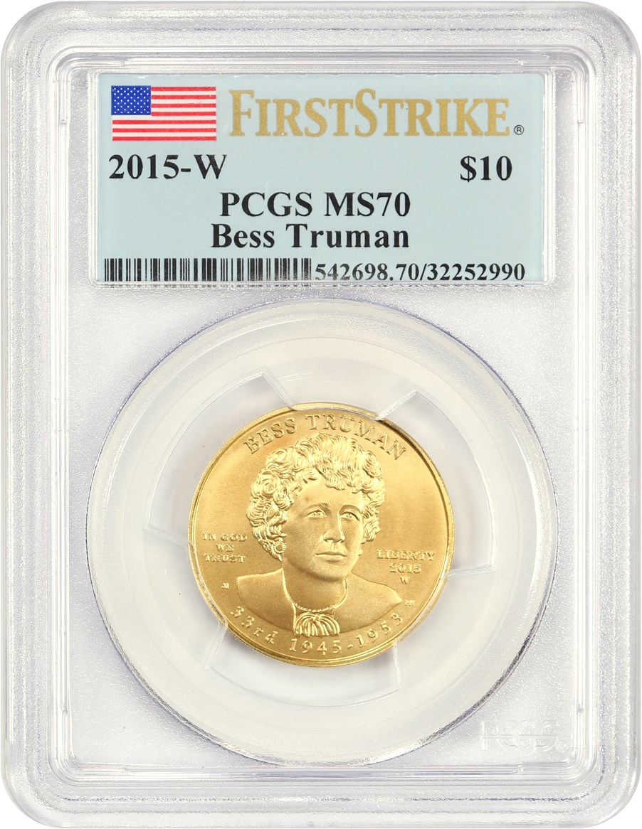 2015-W $10 Gold First Spouse Jacqueline Kennedy PCGS MS69 First Strike 24KT Coin
