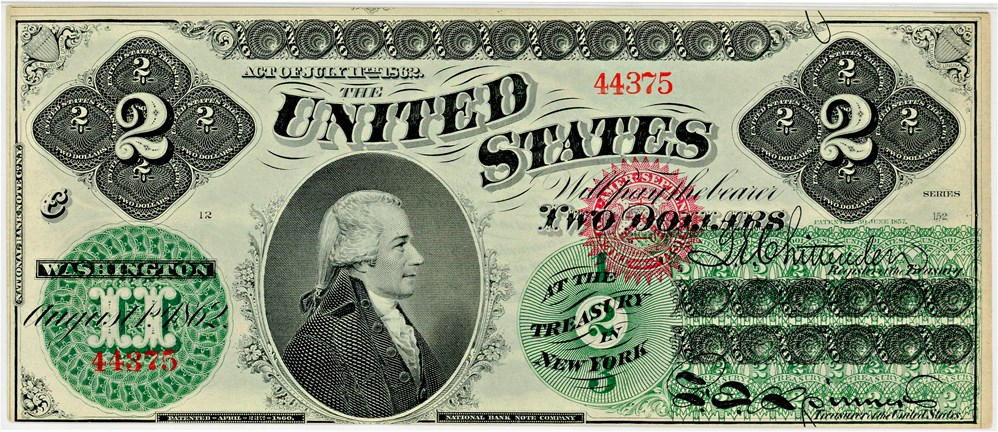 sample image for 1862 $2  Seal Type 2 (Fr.# 41)