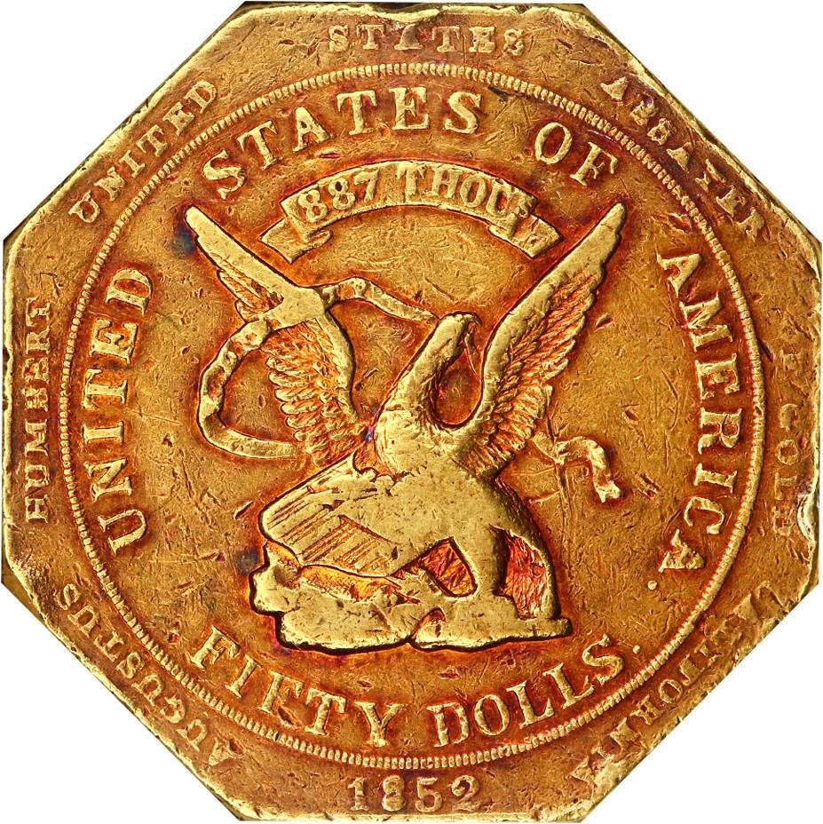 sample image for 1852 $50 Humbert, RE, 887 THOUS (K-11)