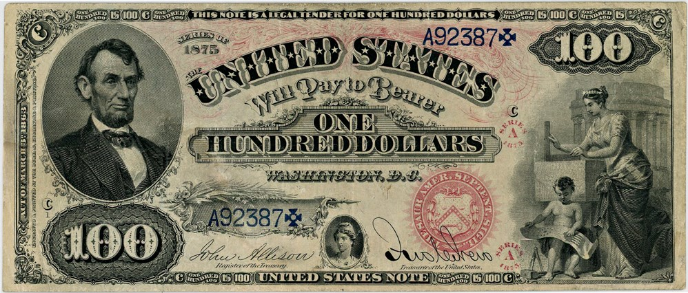 sample image for 1875 $100  (Fr.# 169)