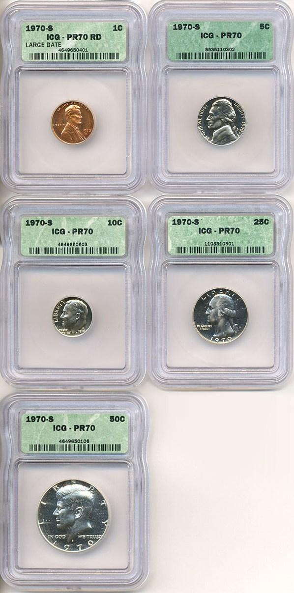 sample image for 1970-S Large Date Proof Set 1c-50c PR