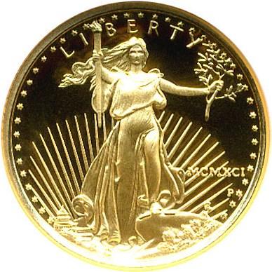 sample image for 1991-P Gold Eagle $5  PR DCAM